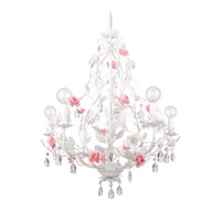 Lola 5 Light 22 inch Wet White Chandelier Ceiling Light in Hand Cut, Wet White (WW)