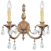 Crystorama 492-OB-CL-MWP Etta 2 Light 16 inch Olde Brass Wall Sconce Wall Light in Clear Hand Cut