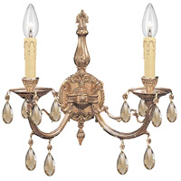 Crystorama Etta 2 Light Wall Sconce in Olde Brass 492-OB-GT-MWP