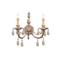 Etta 2 Light 16 inch Olde Brass Wall Sconce Wall Light in Golden Teak (GT), Swarovski Elements (S)