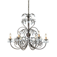 Crystorama Victoria 6 Light Chandelier in Dark Rust 4926-DR