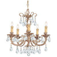 Crystorama 495-OB-CL-MWP Etta 5 Light 20 inch Olde Brass Chandelier Ceiling Light in Clear Hand Cut