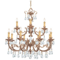 Crystorama 499-OB-CL-SAQ Etta 12 Light 32 inch Olde Brass Chandelier Ceiling Light in Swarovski Spectra (SAQ)