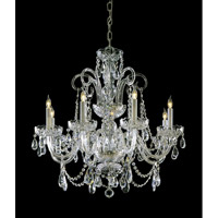 Crystorama 5006-PB-CL-SAQ Signature 6 Light 27 inch Polished Brass Chandelier Ceiling Light