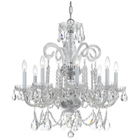 Traditional Crystal 8 Light 27 inch Polished Chrome Chandelier Ceiling Light in Hand Cut, Polished Chrome (CH)