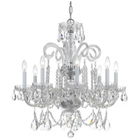 Crystorama Traditional Crystal 8 Light Chandelier in Polished Chrome with Swarovski Spectra Crystals 5008-CH-CL-SAQ