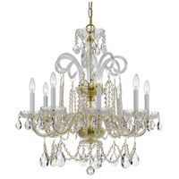 Crystorama Traditional Crystal 8 Light Chandelier in Polished Brass with Hand Cut Crystals 5008-PB-CL-MWP