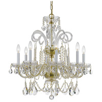 Traditional Crystal 8 Light 27 inch Polished Brass Chandelier Ceiling Light