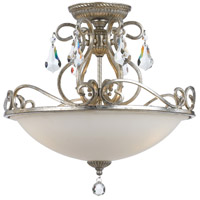 Crystorama 5010-OS-CL-MWP Ashton 3 Light 17 inch Olde Silver Semi Flush Mount Ceiling Light in Olde Silver (OS)