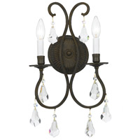 Crystorama Ashton 2 Light Wall Sconce in English Bronze with Hand Cut Crystals 5012-EB-CL-MWP