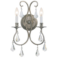 Crystorama 5012-OS-CL-MWP Ashton 2 Light 11 inch Olde Silver Wall Sconce Wall Light in Olde Silver (OS)