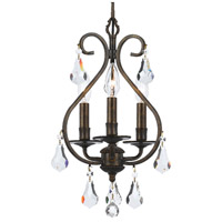 Crystorama 5013-EB-CL-MWP Ashton 3 Light 10 inch English Bronze Mini Chandelier Ceiling Light in English Bronze (EB)