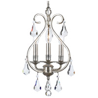 Crystorama 5013-OS-CL-MWP Ashton 3 Light 10 inch Olde Silver Mini Chandelier Ceiling Light in Olde Silver (OS)