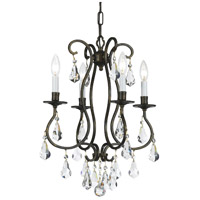 Crystorama Ashton 4 Light Chandelier in English Bronze with Hand Cut Crystals 5014-EB-CL-MWP