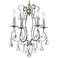 Crystorama 5014-OS-CL-MWP Ashton 4 Light 16 inch Olde Silver Mini Chandelier Ceiling Light in Olde Silver (OS)