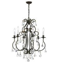 Crystorama 5016-EB-CL-S Ashton 6 Light 22 inch English Bronze Chandelier Ceiling Light