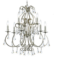 Crystorama 5019-OS-CL-MWP Ashton 9 Light 26 inch Olde Silver Chandelier Ceiling Light in Olde Silver (OS)