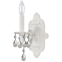 Crystorama Paris Market 1 Light Wall Sconce in Wet White, Clear Crystal, Hand Cut 5021-WW-CL-MWP