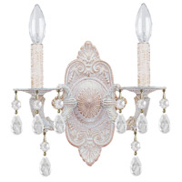 Crystorama Sutton 2 Light Wall Sconce in Antique White 5022-AW-CL-SAQ