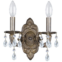 Crystorama Sutton 2 Light Wall Sconce in Venetian Bronze with Swarovski Spectra Crystals 5022-VB-CL-SAQ