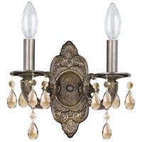 Crystorama Paris Market 2 Light Wall Sconce in Venetian Bronze, Golden Teak, Hand Cut 5022-VB-GT-MWP
