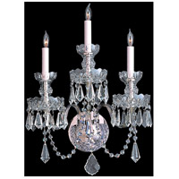 Crystorama Traditional Crystal 3 Light Wall Sconce in Polished Chrome with Hand Cut Crystals 5023-CH-CL-MWP