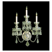 Crystorama Traditional Crystal 3 Light Wall Sconce in Polished Brass with Hand Cut Crystals 5023-PB-CL-MWP