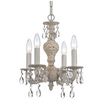 Crystorama 5024-AW-CL-S Paris Market 4 Light 14 inch Antique White Mini Chandelier Ceiling Light in Antique White (AW), Clear Swarovski Strass