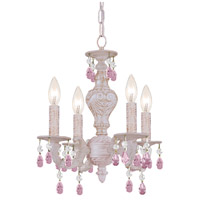 Crystorama Paris Market 4 Light Mini Chandelier in Antique White, Rose Colored, Hand Cut 5024-AW-RO-MWP
