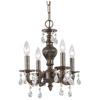 Crystorama Paris Market 4 Light Mini Chandelier in Venetian Bronze, Hand Cut 5024-VB-CL-MWP