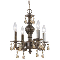 Crystorama Paris Market 4 Light Mini Chandelier in Venetian Bronze, Golden Teak, Hand Cut 5024-VB-GT-MWP