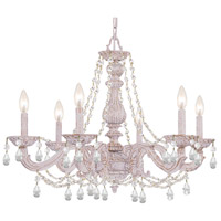 Paris Market 6 Light 28 inch Antique White Chandelier Ceiling Light in Italian Crystals (I)