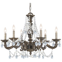 Crystorama Sutton 6 Light Chandelier in Venetian Bronze with Swarovski Spectra Crystals 5026-VB-CL-SAQ