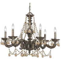 Crystorama Paris Market 6 Light Chandelier in Venetian Bronze, Golden Teak, Hand Cut 5026-VB-GT-MWP