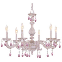 Paris Market 6 Light 28 inch Antique White Chandelier Ceiling Light in Rose Colored (RO), Hand Cut, Antique White (AW)