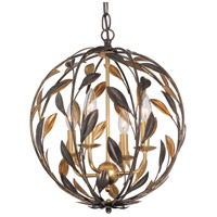 Broche 4 Light 16 inch English Bronze and Antique Gold Mini Chandelier Ceiling Light