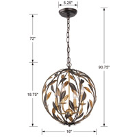 Crystorama 504-EB-GA Broche 4 Light 16 inch English Bronze/Antique Gold Mini Chandelier Ceiling Light alternative photo thumbnail