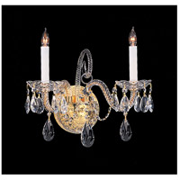 Crystorama 5042-PB-CL-S Traditional Crystal 2 Light 14 inch Polished Brass Wall Sconce Wall Light in Polished Brass (PB) Clear Swarovski Strass