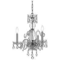 Crystorama Traditional Crystal 3 Light Mini Chandelier in Polished Chrome, Italian Crystals 5044-CH-CL-I