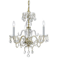 Traditional Crystal 3 Light 16 inch Polished Brass Mini Chandelier Ceiling Light in Polished Brass (PB), Clear Hand Cut