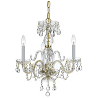 Crystorama 5044-PB-CL-SAQ Traditional Crystal 3 Light 16 inch Polished Brass Mini Chandelier Ceiling Light in Swarovski Spectra (SAQ), Polished Brass (PB)