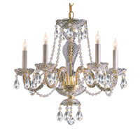 Crystorama Traditional Crystal 5 Light Chandelier in Polished Brass with Swarovski Spectra Crystals 5045-PB-CL-SAQ