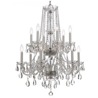 Crystorama Traditional Crystal 12 Light Chandelier in Polished Chrome, Italian Crystals 5047-CH-CL-I