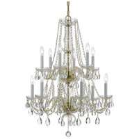 Traditional Crystal 12 Light 26 inch Polished Brass Chandelier Ceiling Light