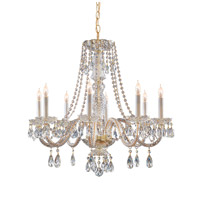 Crystorama Traditional Crystal 8 Light Chandelier in Polished Brass with Swarovski Spectra Crystals 5048-PB-CL-SAQ