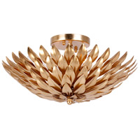 Broche 4 Light 16 inch Antique Gold Semi Flush Mount Ceiling Light in Antique Gold (GA)