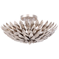 Crystorama Broche 4 Light Semi Flush Mount in Antique Silver 505-SA
