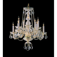 Crystorama Traditional Crystal 10 Light Chandelier in Polished Brass with Swarovski Spectra Crystals 5050-PB-CL-SAQ