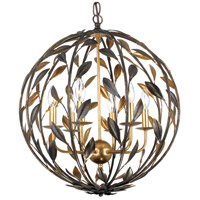 Broche 6 Light 21 inch English Bronze and Antique Gold Chandelier Ceiling Light