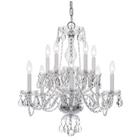 Traditional Crystal 10 Light 23 inch Polished Chrome Chandelier Ceiling Light in Hand Cut, Polished Chrome (CH)